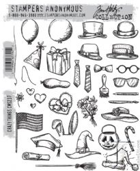 CMS237 Stampers Anonymous Tim Holtz Cling Mounted Stamp Set -  Crazy Things Stamp Set